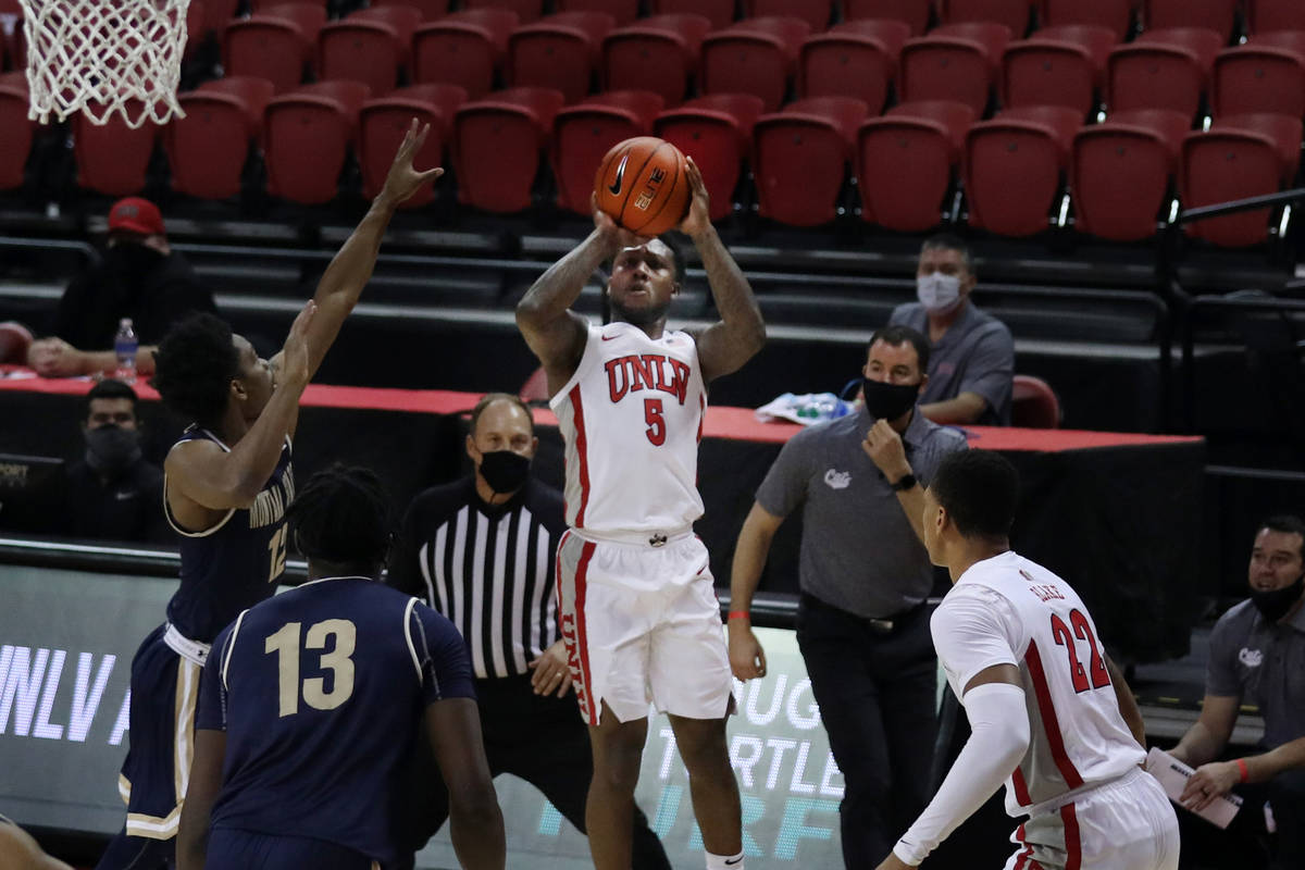 UNLV Rebels forward Cheikh Mbacke Diong (34) is pressured by Montana State Bobcats during the f ...