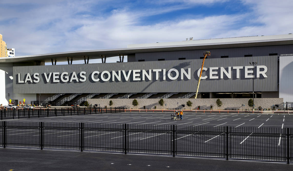 The lettering is now done on the side of the Las Vegas Convention Center West Hall on Wednesday ...
