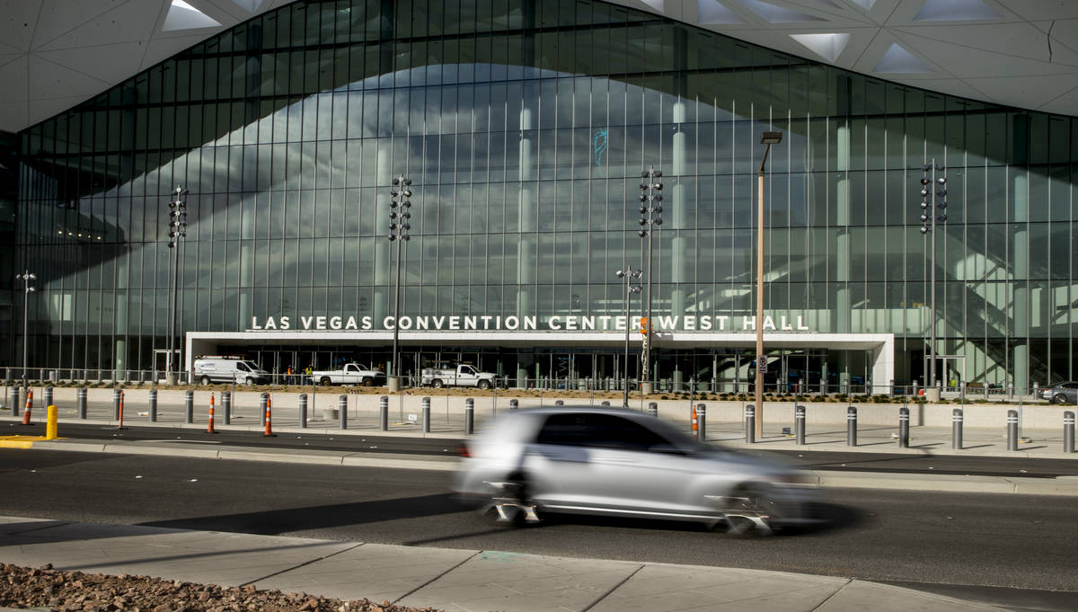 Construction continues about the front of the new Las Vegas Convention Center West Hall on Wedn ...
