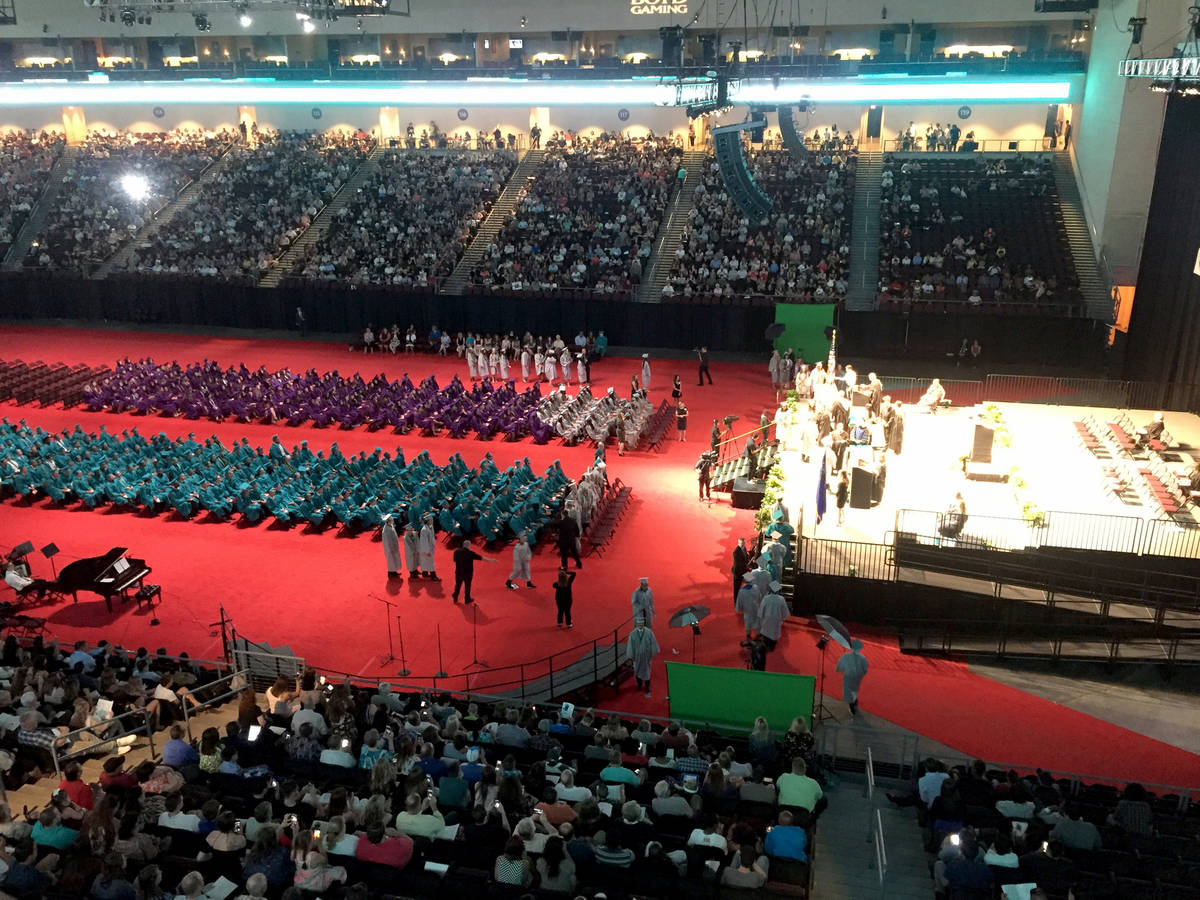"""Silverado High School students enter the Orleans Arena to """"Pomp and Circumstance"""" in an undated ..."""