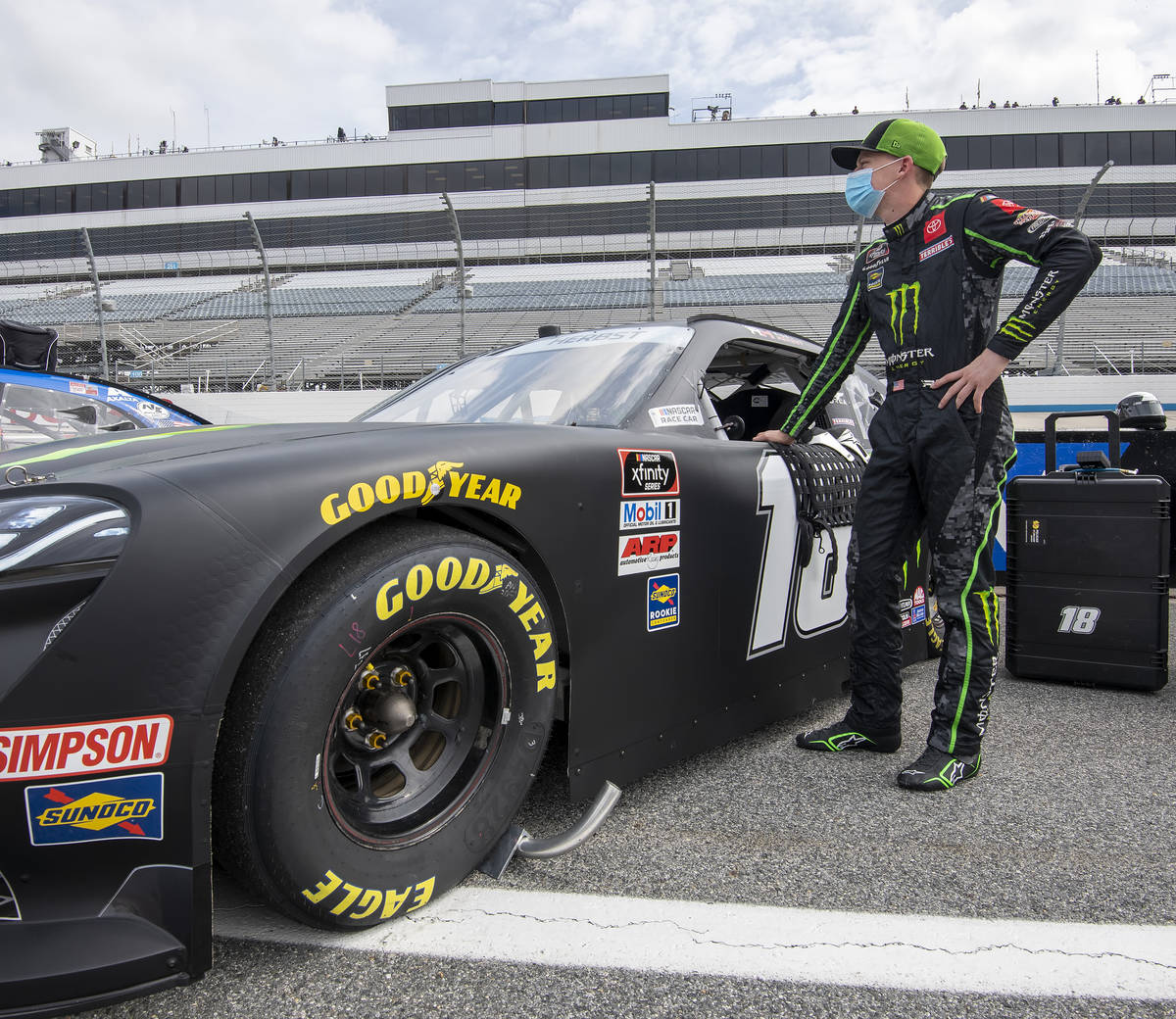 Riley Herbst (18) during a NASCAR Xfinity Series race at Dover International Speedway, Saturday ...
