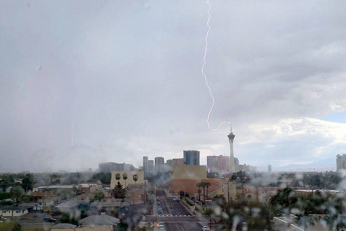 Lightning strikes The Strat on Monday, April 20, 2020, the last time there was measurable rainf ...