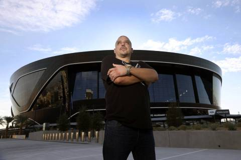 Rick Gonzalez, also known G Minor the DJ, poses for a portrait at Allegiant Stadium in Las Vega ...