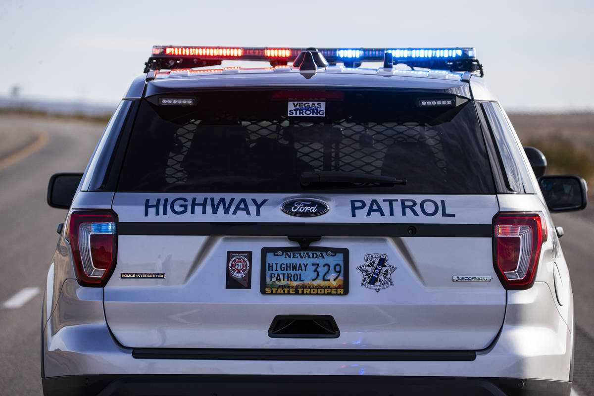 Nevada Highway Patrol troopers respond to the scene of a crash that left at least five bicyclis ...
