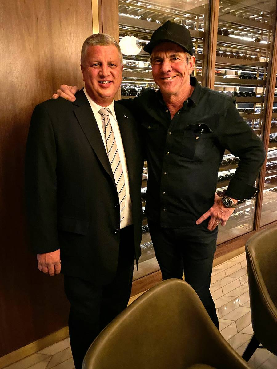Circa co-owner Derek Stevens and actor Dennis Quaid are shown at Barry's Downtown Prime at Circ ...