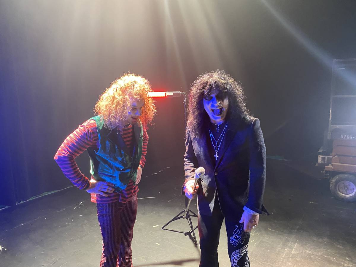 """Carrot Top and Paul Shortino are shown recording a heavy metal version of """"Send In The Clowns"""" ..."""