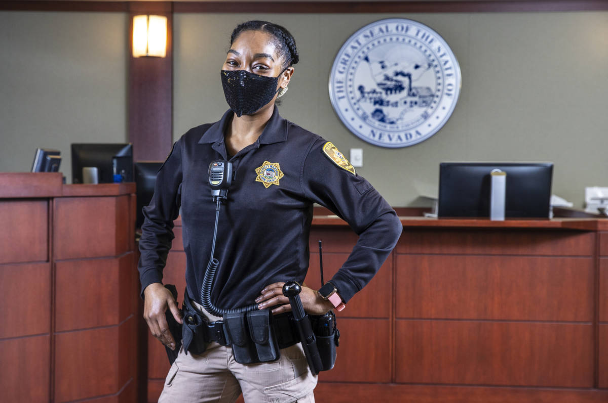 Dominique Bosa-Edwards is a District Court marshal at the Regional Justice Center. She graduate ...