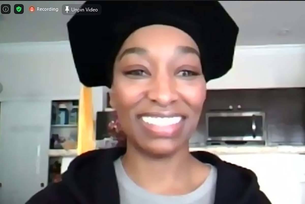 Dominique Bosa-Edwards, 38, graduates from the UNLV's Boyd Law School via videoconference on De ...