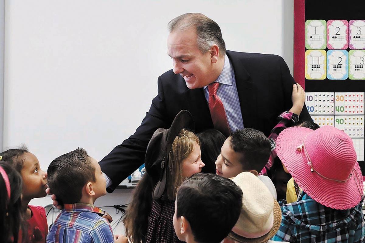 Clark County School District superintendent Dr. Jesus Jara says goodbye to a kindergarten class ...