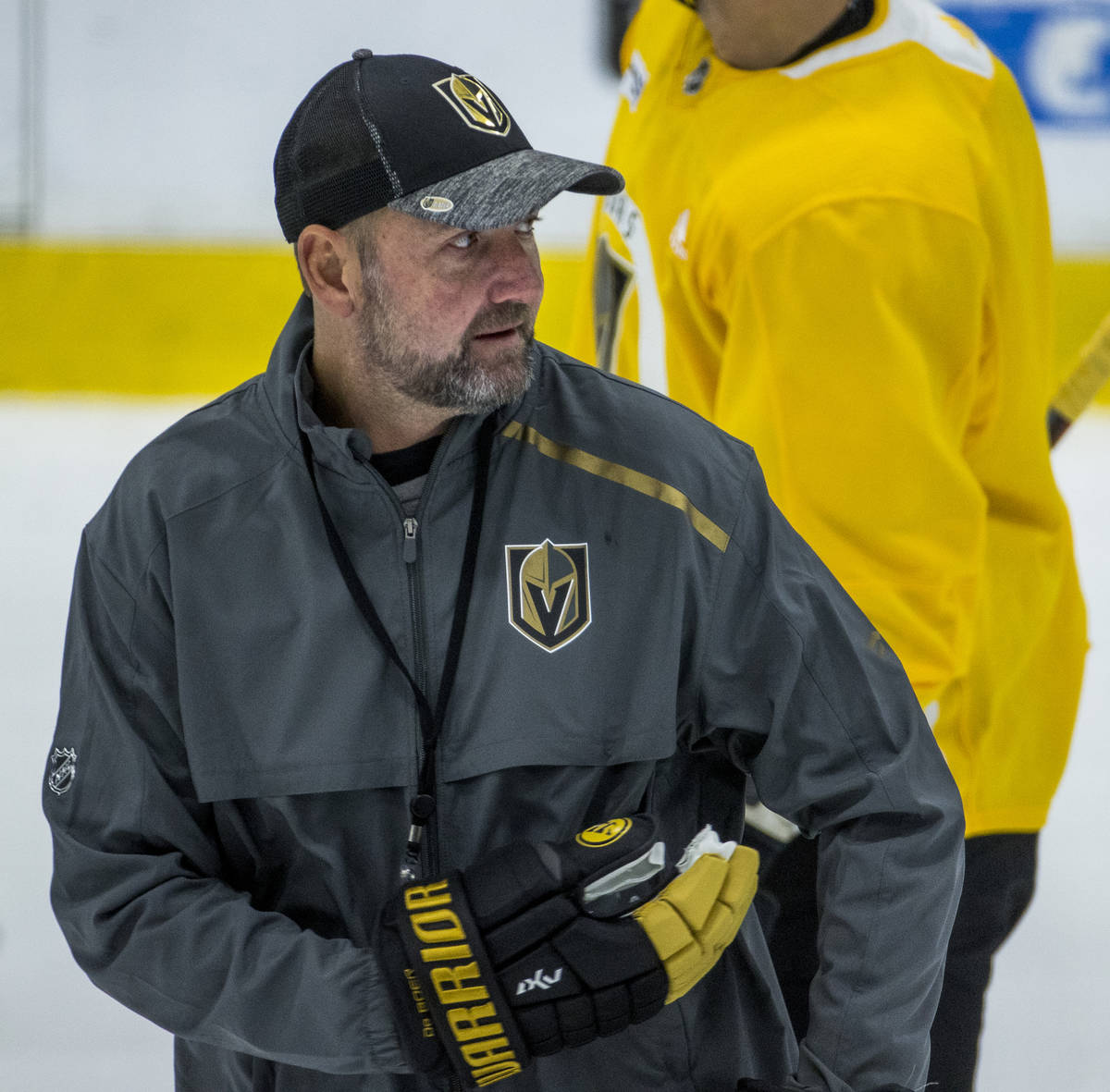 Vegas Golden Knights head coach Peter DeBoer looks to his players during practice at the City N ...