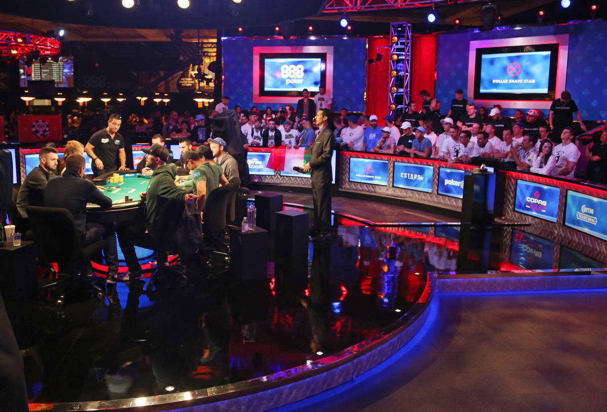 The main event final table of nine players at the Rio hotel-casino in Las Vegas, Sunday, July 1 ...