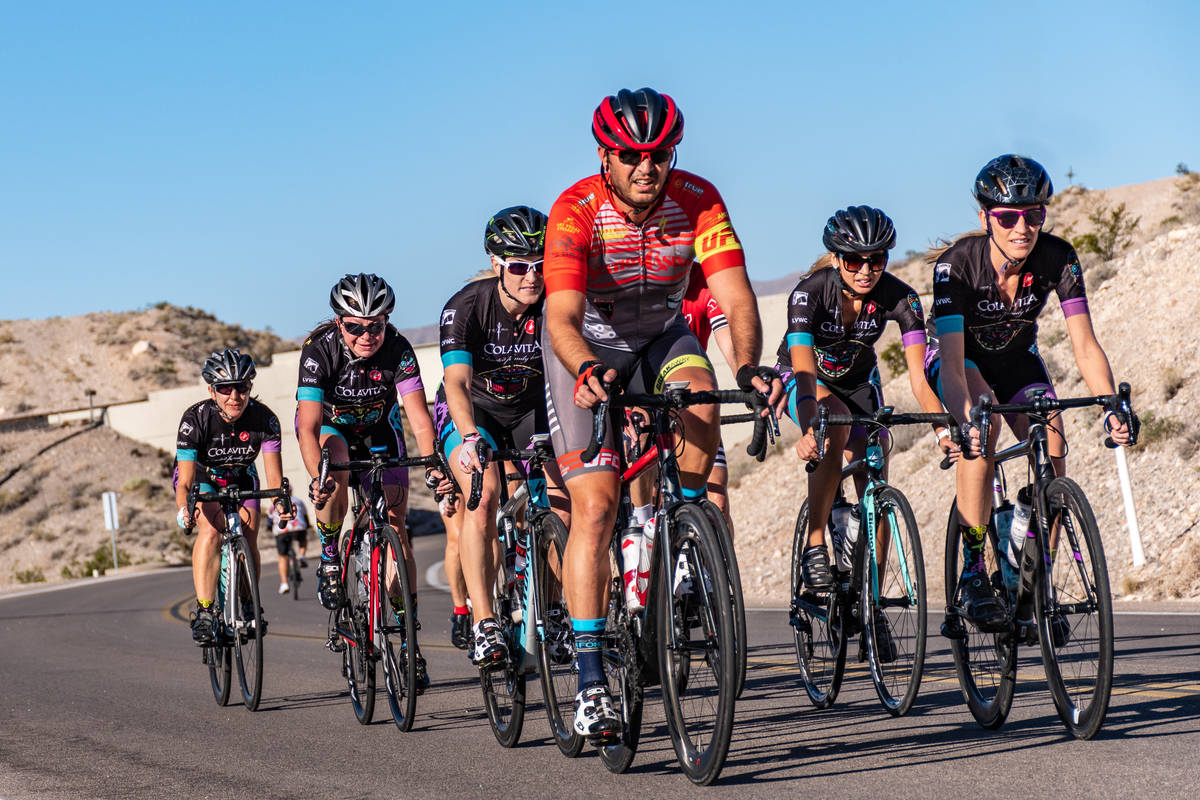 """Aksoy Ahmet leads a group of team riders on Las Vegas Boulevard South during the 2017 """"Three Fe ..."""