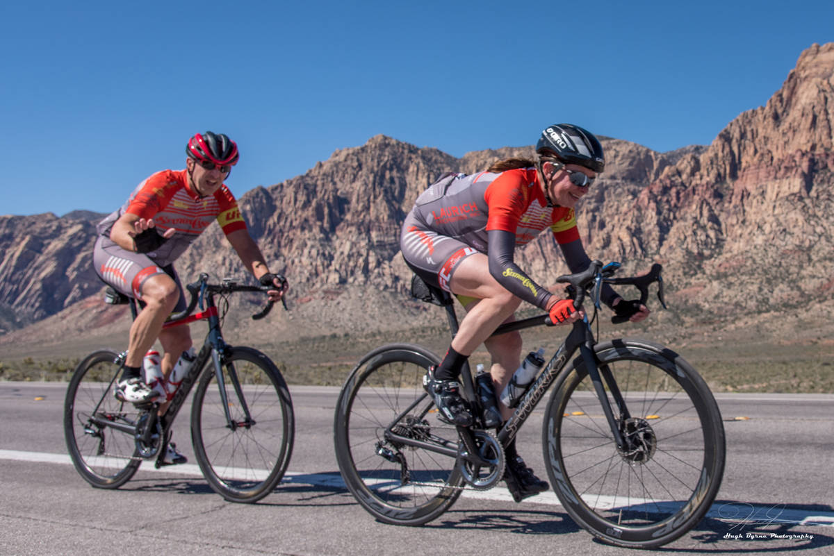 Aksoy Ahmet and his wife, Angela, during a 2018 ride in the Red Rock National Conservation Area ...