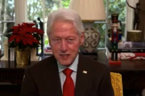 "Bill Clinton is shown on a screen grab during Tony Hsieh's ""LifeDay"" celebration and livestream ..."