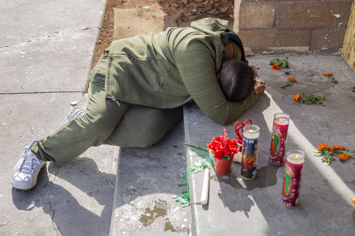 Displaced Alpine Motel Apartments tenant Audrey Palmer weeps on Tuesday, Jan. 21, 2020 at the a ...