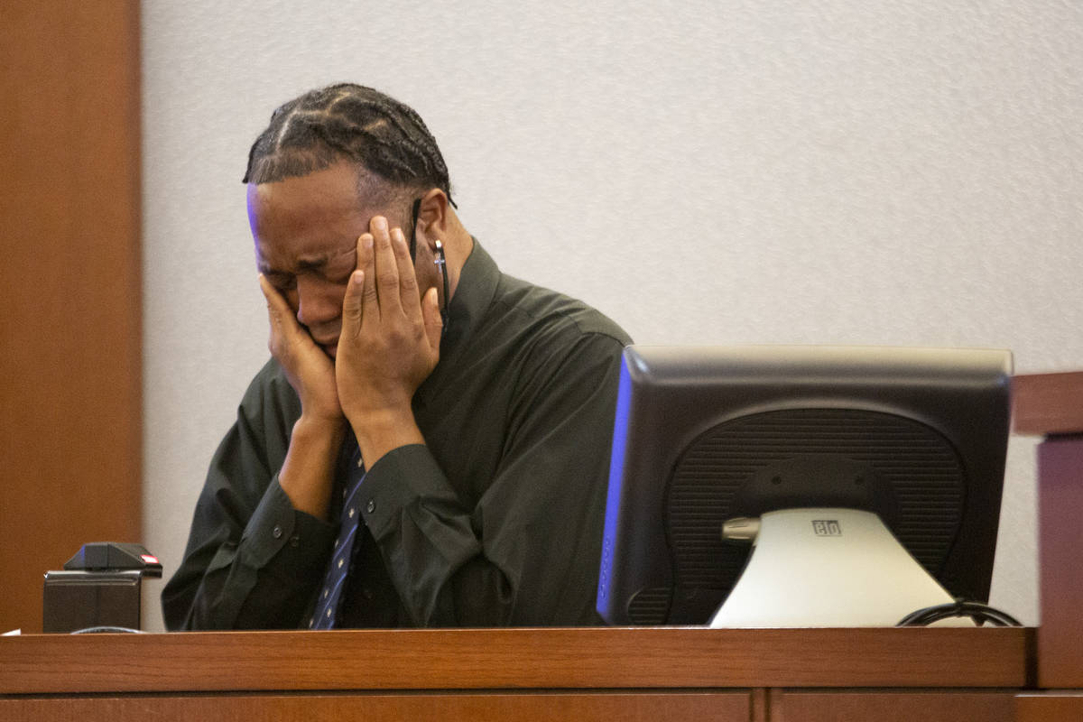 Former Alpine Motel Apartments resident Timothy Henry breaks down in tears during a preliminary ...