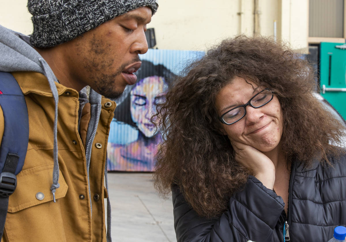Alpine Apartment Motel fire victims Brandon Monroe, left, and Sara Rachal speak about having to ...