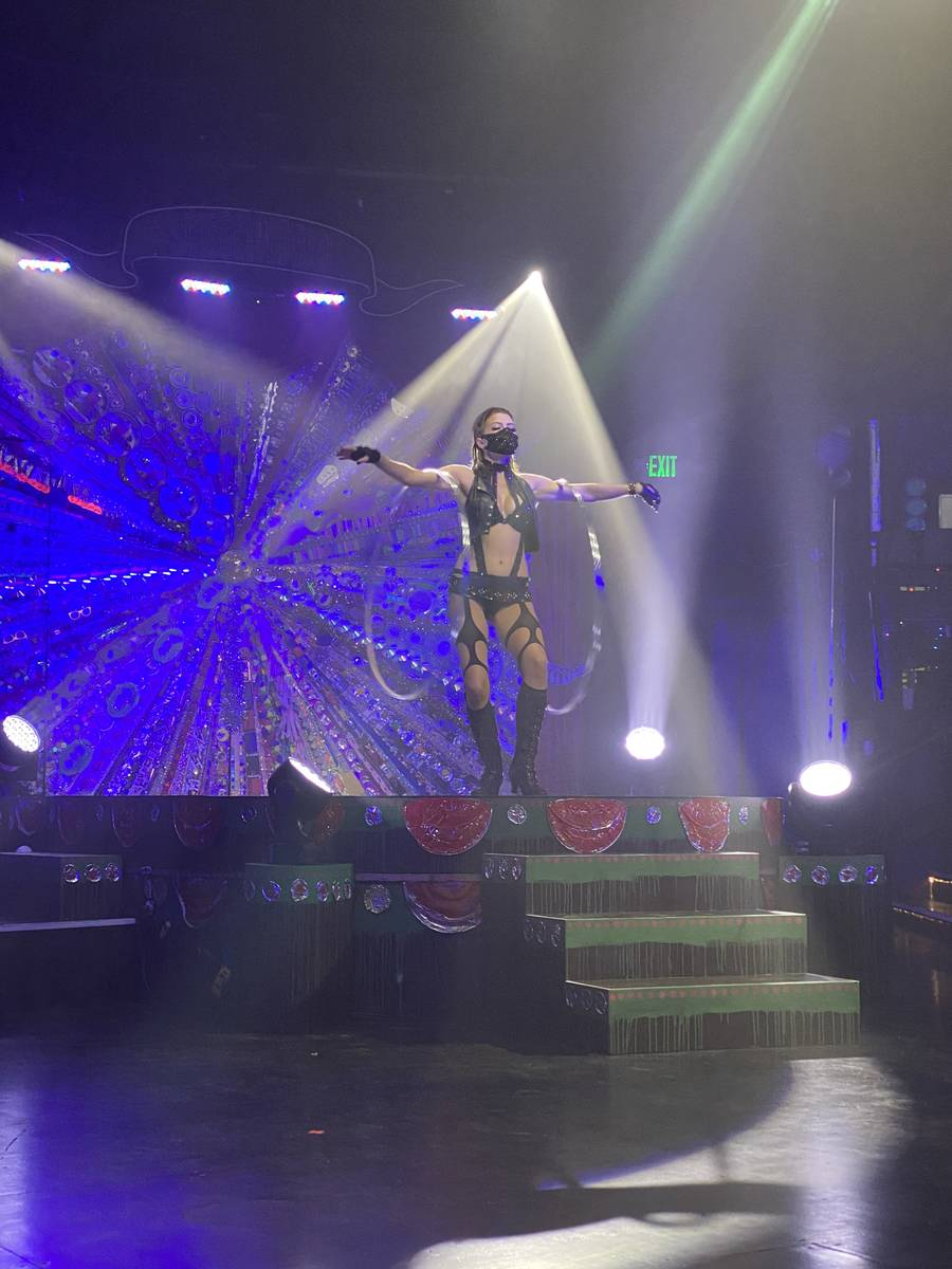 """The hula-hoop artist Ailona is shown in the return of """"Absinthe"""" at Caesars Palace on Wednesday ..."""