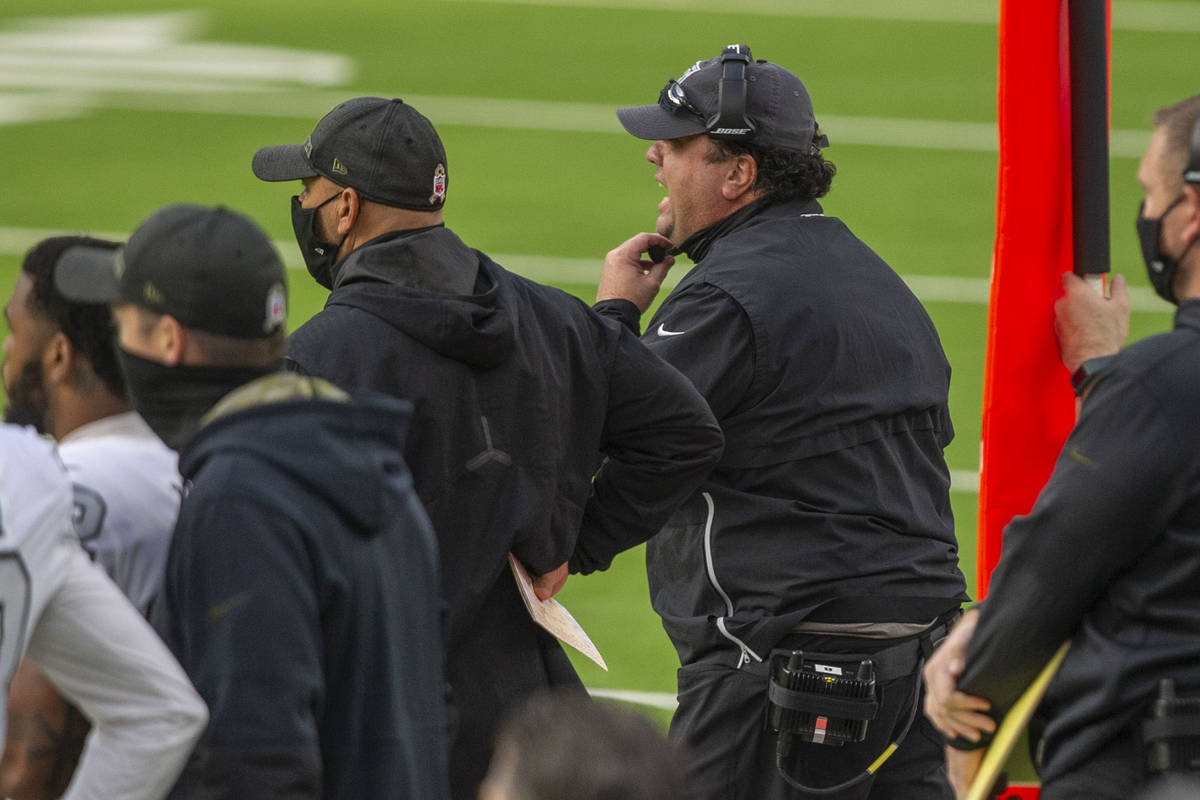 Las Vegas Raiders defensive coordinator Paul Guenther coaches from the sideline during the firs ...