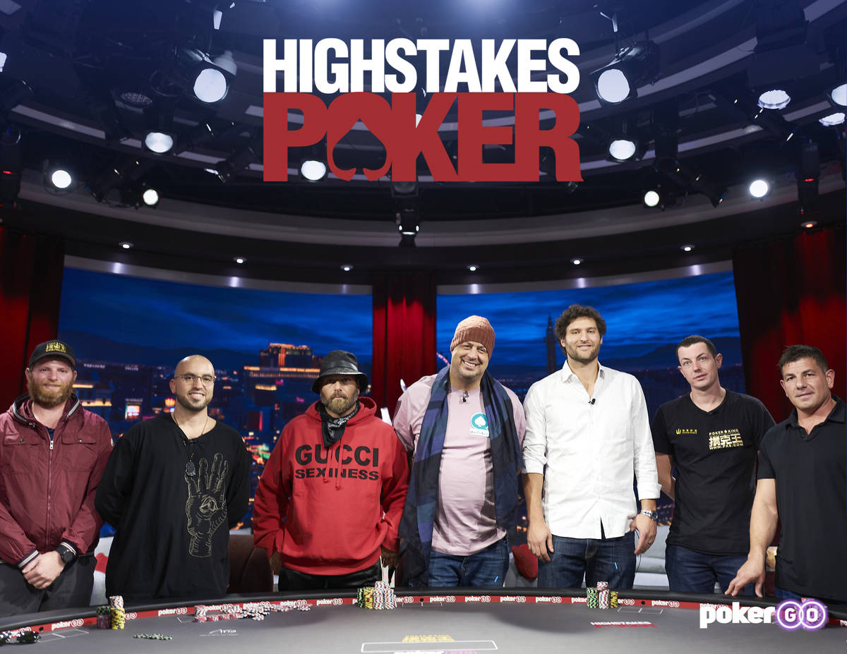 """The debut episode of """"High Stakes Poker"""" on PokerGO will feature, from left, Nick Petrangelo, B ..."""