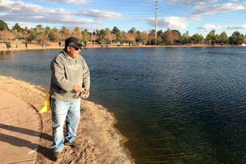 Kurt Asplindh, and avid angler from Las Vegas, enjoys a fishing adventure at Veterans Memorial ...