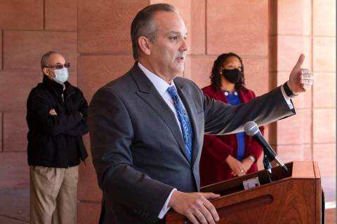 Clark County School District superintendent Dr. Jesus Jara speaks during a press conference out ...