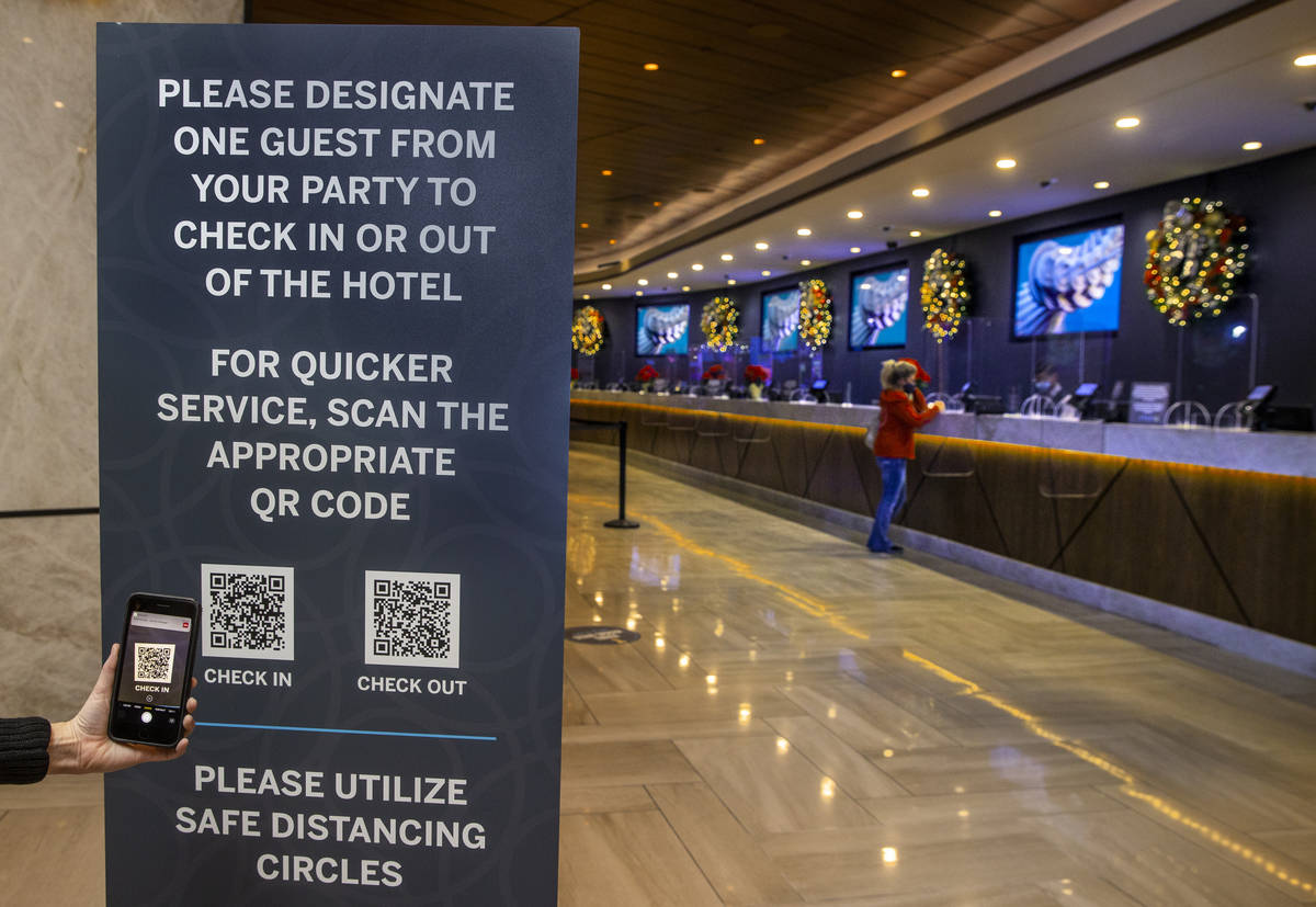 For faster service guests can scan the appropriate QR code checking in at the Strat on Wednesda ...