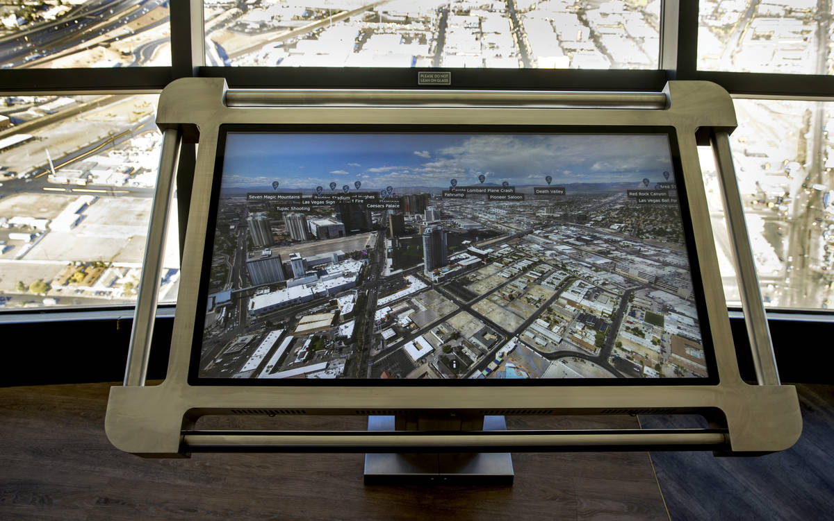 One of the new interactive maps on locations about the city along the observation deck at the S ...