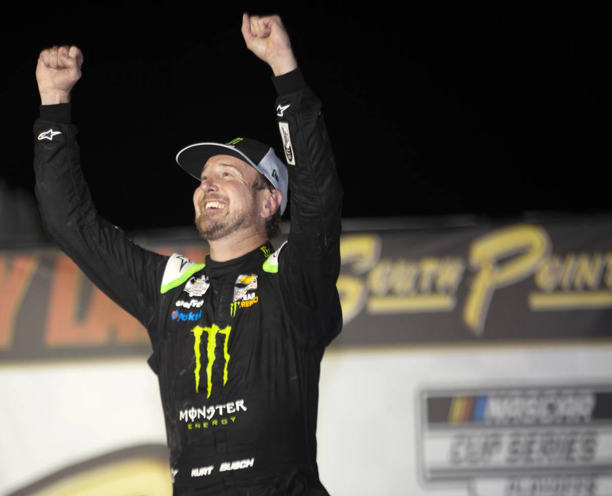 Kurt Busch (1), of Las Vegas, celebrates in Victory Lane aftera NASCAR Cup Series auto ra ...
