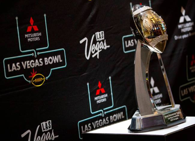 A view of the Las Vegas Bowl trophy before a media event at Maverick Helicopters ahead of the L ...