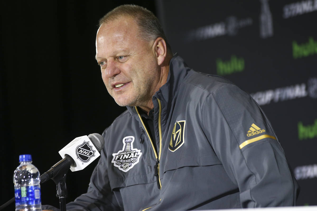 Golden Knights head coach Gerard Gallant speaks after practice at Capital One Arena in Washingt ...