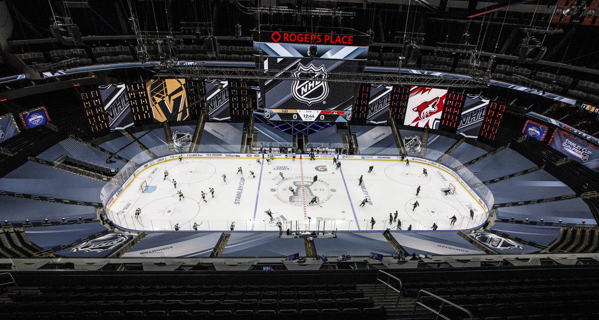 Arizona Coyotes and Vegas Golden Knights players warm up for an NHL hockey exhibition game in E ...