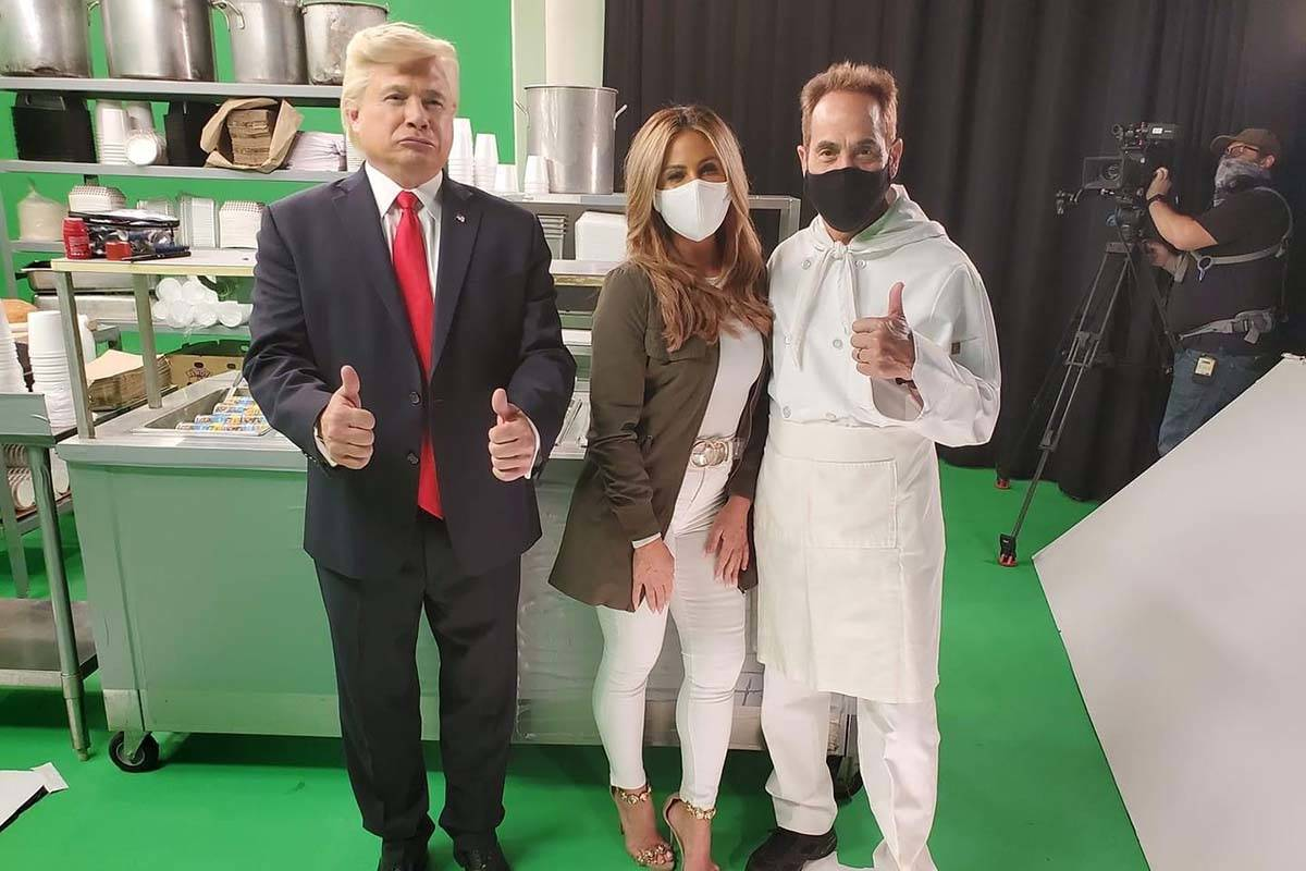"John Di Domenico as Donald Trump, Mikalah Gordon as Melania Trump and Larry Thomas as ""The Soup ..."