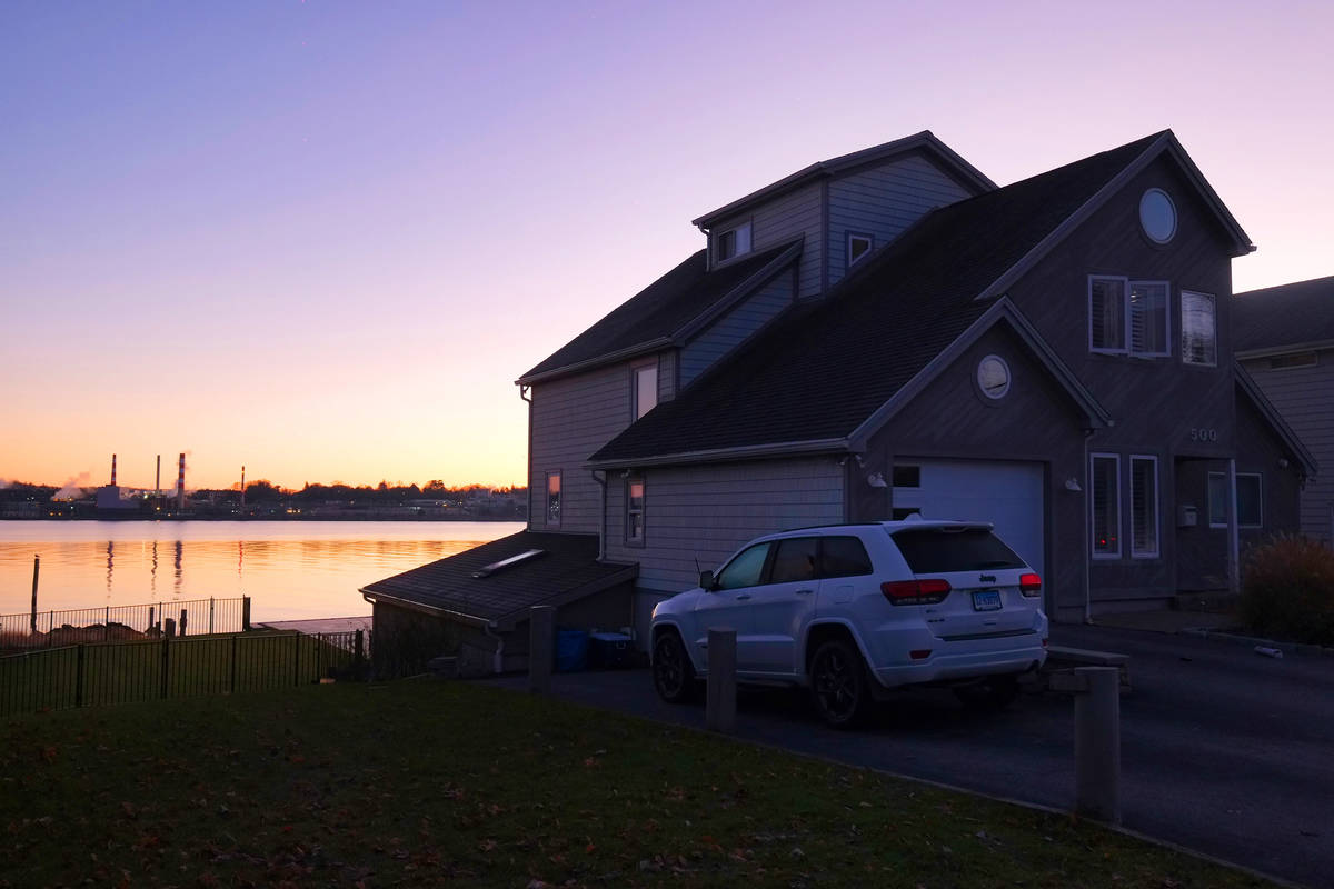 The early morning sun lights up the home at 500 Pequot Ave., along the Thames River, pictured o ...