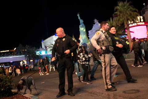 Metropolitan police patrol Las Vegas Boulevard for New Year's Eve on the Strip in this Dec. 31, ...