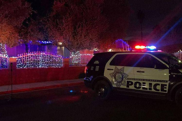 Las Vegas police at the scene of a homicide in the 100 block of Montello Avenue near East Charl ...