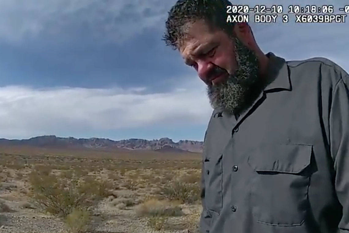 This screenshot from a Nevada Highway Patrol body camera video shows Jordan Alexander Barson, a ...