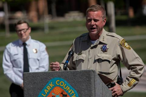 In this April 1, 2020 photo, Las Vegas Police Undersheriff Kevin McMahill outlines the police d ...