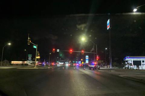 Las Vegas police investigate a shooting on Saturday, Dec. 19, 2020, in downtown Las Vegas. (Sab ...