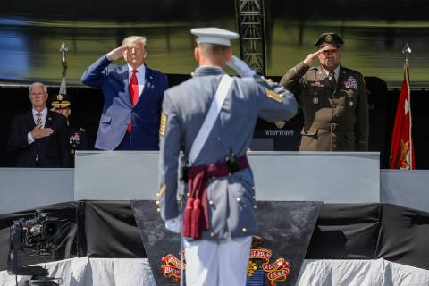 FILE - In this June 13, 2020 photo, President Donald Trump, left, and the United States Militar ...