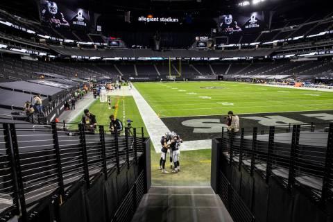 Raiders long snapper Trent Sieg (47), Raiders kicker Daniel Carlson (2) and Raiders punter A.J. ...
