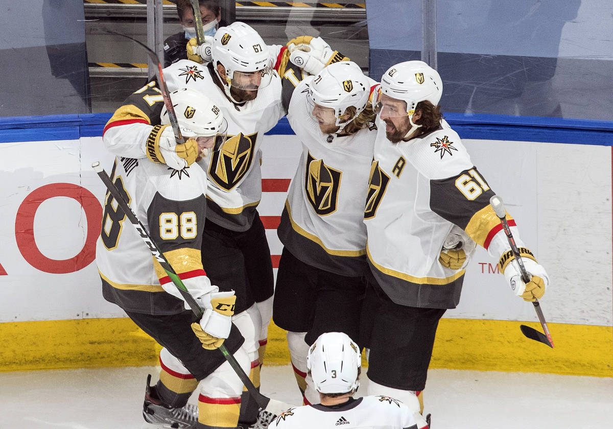 Vegas Golden Knights players, from left to right, Nate Schmidt, Max Pacioretty, William Karlsso ...