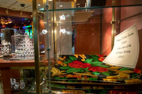 Pieces of the old carpet are for sale at the El Cortez gift shop on Wednesday, Dec. 23, 2020, i ...