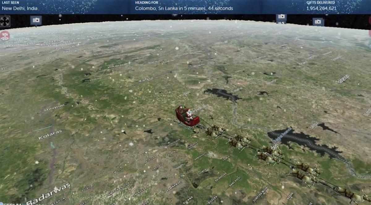 This photo provided by The North American Aerospace Defense Command (NORAD) shows the Santa Tra ...