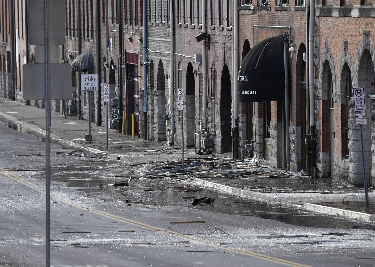 Buildings are damaged one block away from an explosion on Friday, Dec. 25, 2020 in Nashville, T ...