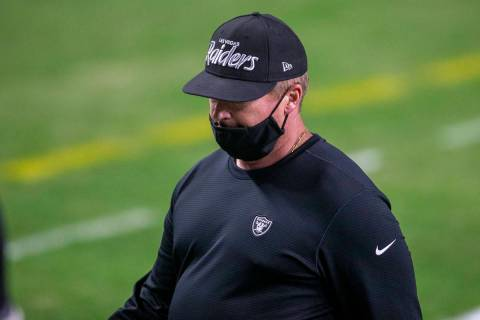 Raiders head coach Jon Gruden leaves the field after his team lost an NFL football game to the ...