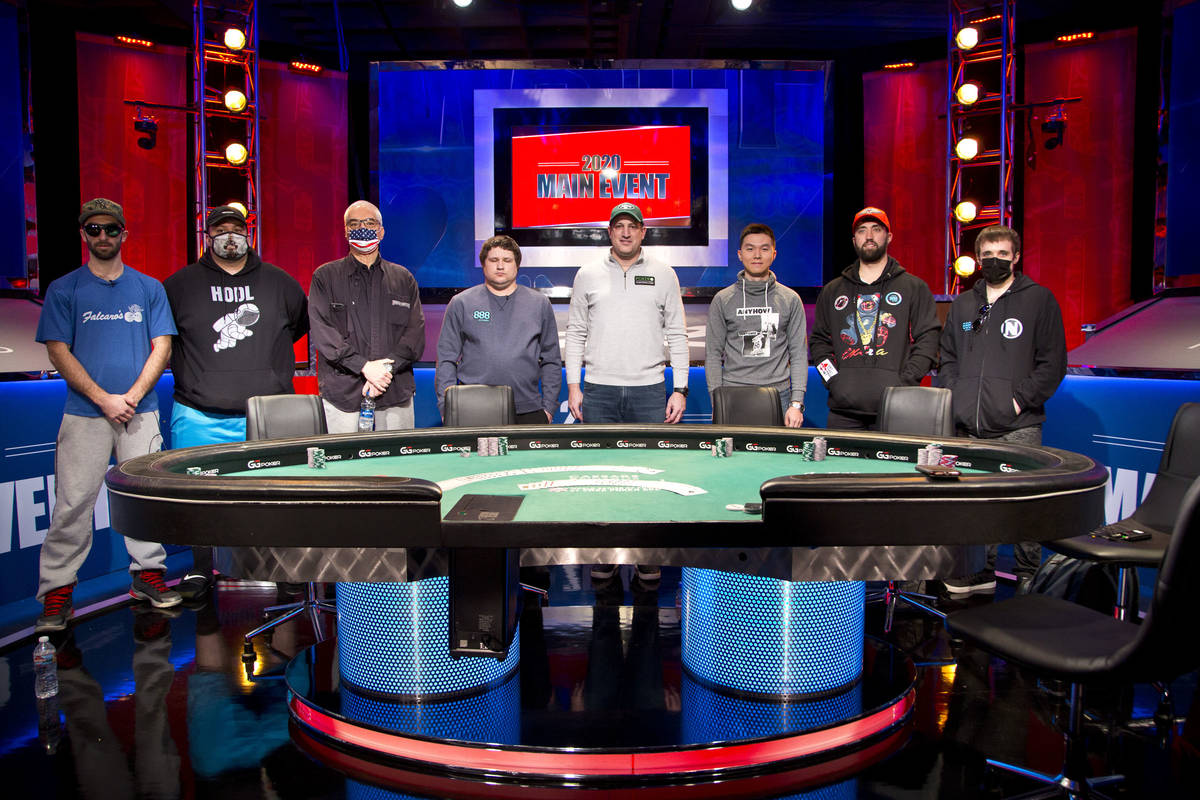 The players at the final table of the U.S. portion of the World Series of Poker Main Event on M ...