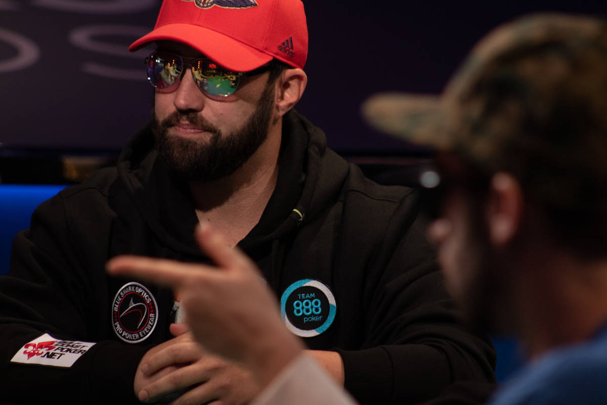 Chip leader Joseph Hebert, left, at the final table of the U.S. portion of the World Series of ...