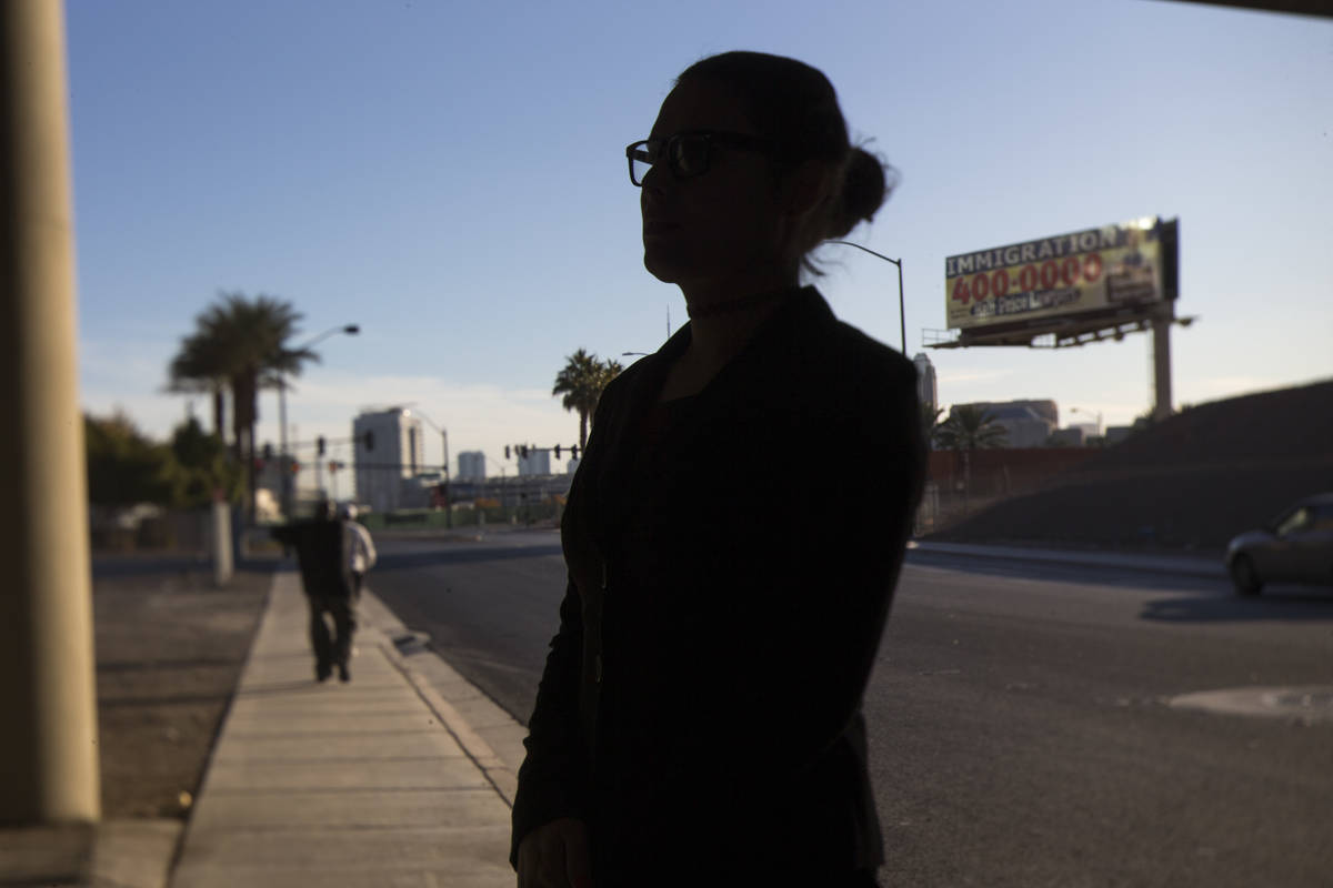 Henderson police officer Bridget Ward poses in downtown Las Vegas on Friday, Dec. 21, 2018. Ric ...
