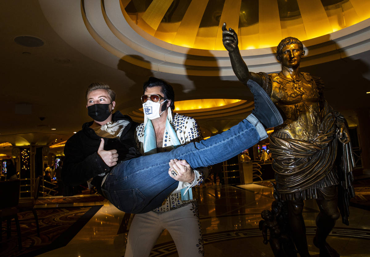 Cole Davis Duffy, held by his dad, Brendan Paul, at Caesars Palace in Las Vegas on Tuesday, Dec ...